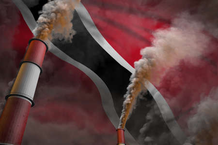 Pollution fight in Trinidad and Tobago concept - industrial 3D illustration of two large plant chimneys with dense smoke on flag background Imagens