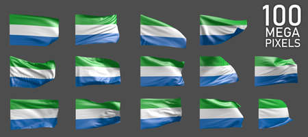 Sierra Leone flag isolated - different realistic renders of the waving flag on gray background - object 3D illustration