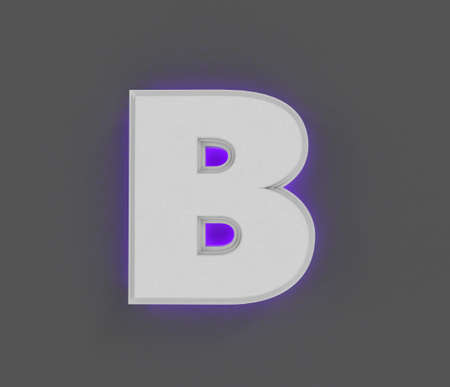 Gray concrete alphabet with purple backlight - letter B isolated on gray background, 3D illustration of symbols Imagens