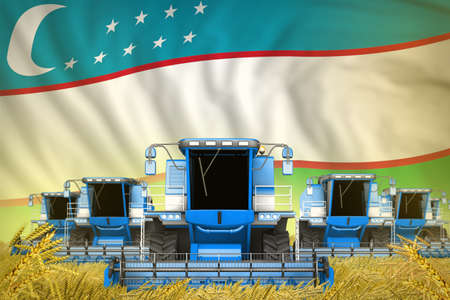 industrial 3D illustration of some blue farming combine harvesters on farm field with Uzbekistan flag background - front view, stop starving concept Imagens - 159437805