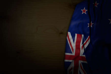 wonderful anthem day flag 3d illustration - dark picture of New Zealand flag with big folds on dark wood with free place for your text