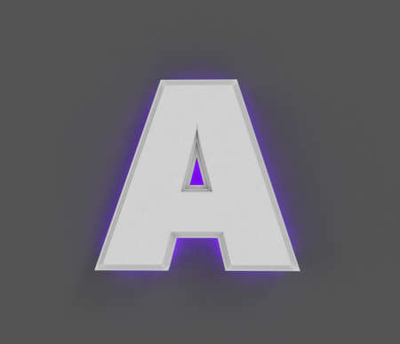 Gray stone font with purple backlight - letter A isolated on dark gray, 3D illustration of symbols Imagens