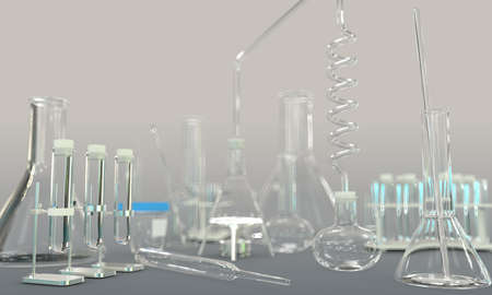 laboratory test tubes and other scientific glassware empty on gray background - university concept, 3D illustration of objects Imagens