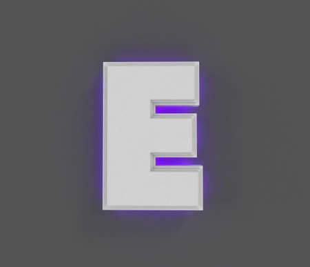 Gray concrete alphabet with purple backlight - letter E isolated on gray background, 3D illustration of symbols Imagens