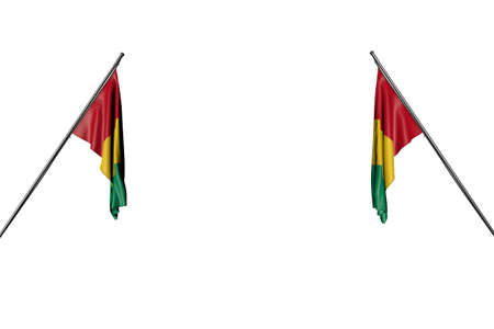 cute day of flag 3d illustration - two Guinea flags hangs on diagonal poles from two sides isolated on white