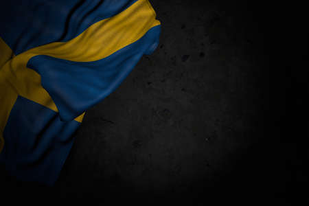 wonderful dark picture of Sweden flag with big folds on black stone with free place for text - any celebration flag 3d illustration