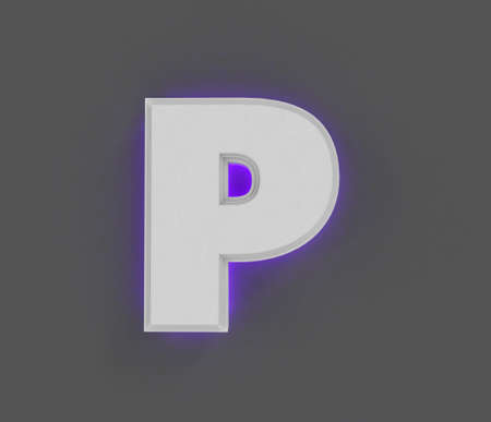 Gray concrete alphabet with purple backlight - letter P isolated on gray background, 3D illustration of symbols