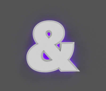 Gray concrete alphabet with purple backlight - ampersand isolated on gray background, 3D illustration of symbols