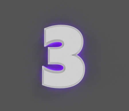Gray concrete alphabet with purple backlight - number 3 isolated on dark gray, 3D illustration of symbols