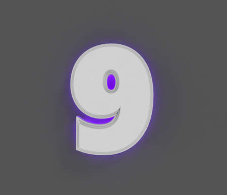 Gray concrete alphabet with purple backlight - number 9 isolated on gray background, 3D illustration of symbols