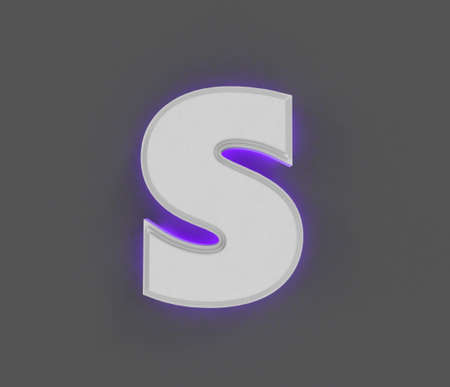 Gray concrete alphabet with purple backlight - letter S isolated on dark gray, 3D illustration of symbols Imagens