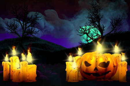 Halloween vivid creepy dark night mockup - background design template 3D illustration with set of candles on left side and candle in pumpkin style on right, lanterns in the dark concept