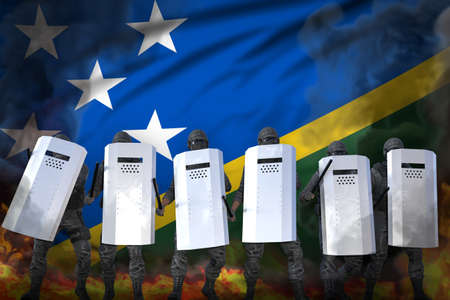 Solomon Islands police swat protecting law against revolt - protest fighting concept, military 3D Illustration on flag background