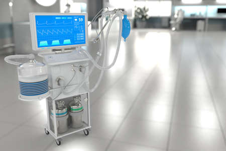 ICU artificial lung ventilator with fictive design in modern hospital with soft focus - fight covid-19 concept, medical 3D illustration
