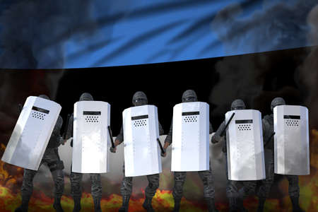 Estonia protest fighting concept, police swat in heavy smoke and fire protecting law against revolt - military 3D Illustration on flag background Imagens