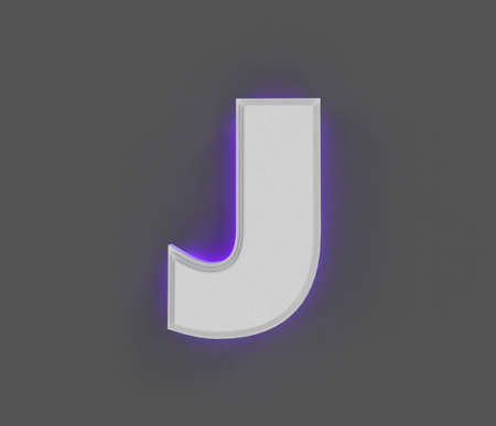Gray concrete font with purple backlight - letter J isolated on dark gray, 3D illustration of symbols