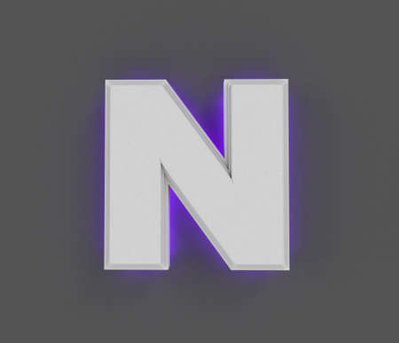 Gray concrete font with purple backlight - letter N isolated on dark gray, 3D illustration of symbols