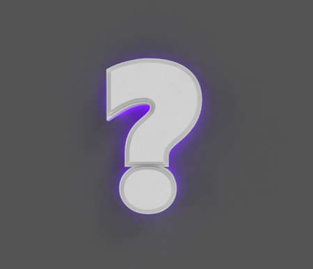 Gray concrete font with purple backlight - question mark isolated on dark gray, 3D illustration of symbols