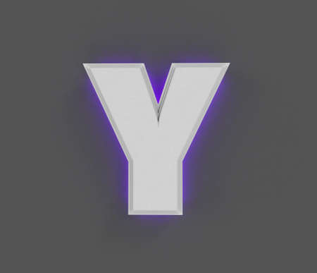 Gray stone alphabet with purple backlight - letter Y isolated on dark gray, 3D illustration of symbols