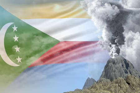 stratovolcano blast eruption at day time with white smoke on Comoros flag background, troubles because of eruption and volcanic earthquake conceptual 3D illustration of nature Imagens