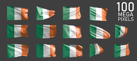 Ireland flag isolated - various realistic renders of the waving flag on gray background - object 3D illustration Imagens