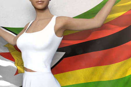 beautiful lady is holding Zimbabwe flag in her hands behind her on the white background - flag concept 3d illustration