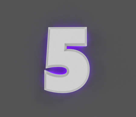 Gray concrete font with purple backlight - number 5 isolated on gray background, 3D illustration of symbols