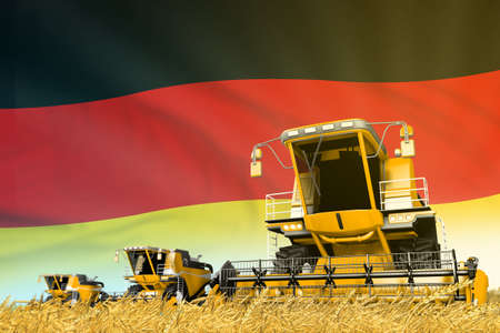 yellow farm agricultural combine harvester on field with Germany flag background, food industry concept - industrial 3D illustration Imagens