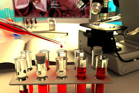 laboratory test-tubes in science research clinic - blood analysis for virus eg coronavirus, medical 3D illustration