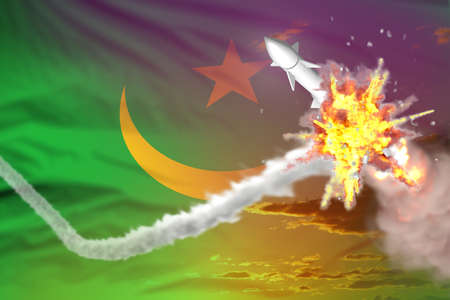 Strategic rocket destroyed in air, Mauritania ballistic missile protection concept - missile defense military industrial 3D illustration