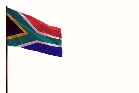 Fluttering South Africa flag isolated, mockup with the place for your text on white background.