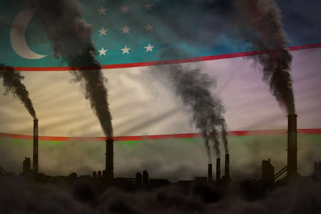 Global warming concept - heavy smoke from industrial chimneys on Uzbekistan flag background with space for your logo - industrial 3D illustration