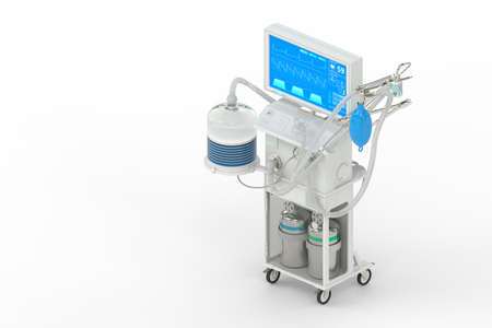 ICU artificial lung ventilator with fictive design, isometric view isolated on white - heal 2019-ncov concept, medical 3D illustration