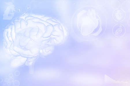 Human brain, memory discovery concept - very detailed electronic texture or background, medical 3D illustration