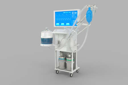 ICU artificial lung ventilator with fictive design isolated on gray background - heal corona virus concept, medical 3D illustration