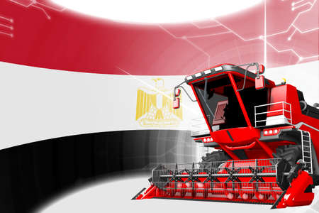 Digital industrial 3D illustration of red advanced wheat combine harvester on Egypt flag - agriculture equipment innovation concept Stock fotó