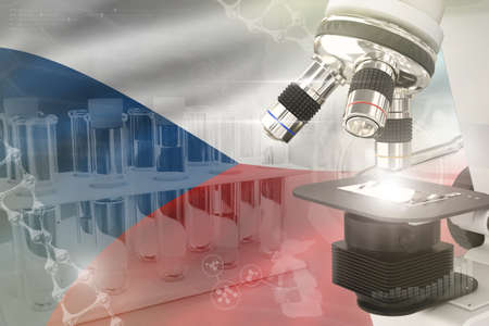 Microscope on Czechia flag - science development digital background. Research of vaccine design concept, 3D illustration of object