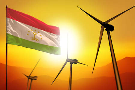 Tajikistan wind energy, alternative energy environment concept with turbines and flag on sunset - alternative renewable energy - industrial illustration, 3D illustration