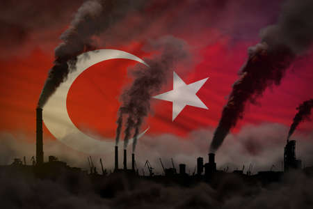 Global warming concept - heavy smoke from plant pipes on Turkey flag background with space for your content - industrial 3D illustration