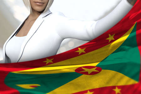 sexy business woman is holding Grenada flag in front of her on the mall background - flag concept 3d illustration