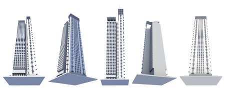 5 side view renders of fictional design city skyscrapers living towers with sky reflections - isolated on white, 3d illustration of skyscrapers Stock fotó