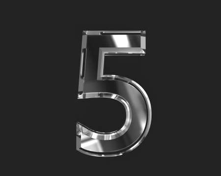 White glossy reflective transparent alphabet - number 5 isolated on dark, 3D illustration of symbols