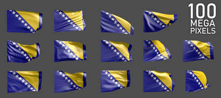 a lot of different realistic renders of Bosnia and Herzegovina flag isolated on gray background - 3D illustration of object