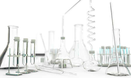 lab test-tubes and other science glassware empty on white background - study concept, 3D illustration of objects Stock fotó