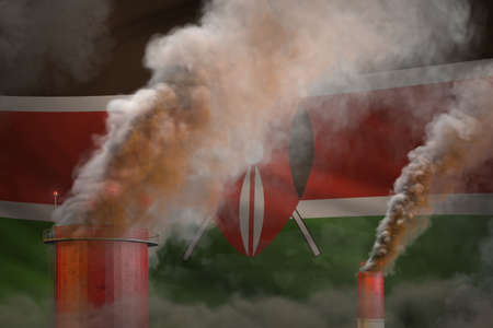 Global warming concept - dense smoke from plant chimneys on Kenya flag background with space for your logo - industrial 3D illustration