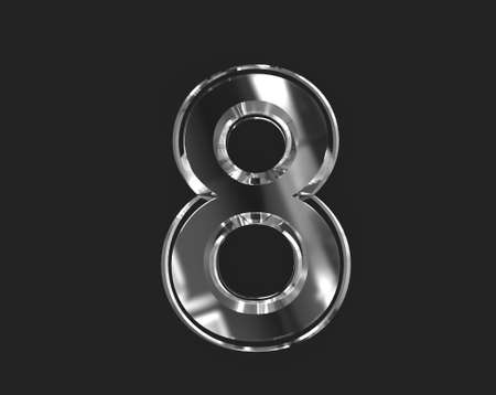 White shine glass made clear font - number 8 isolated on dark, 3D illustration of symbols Stock fotó
