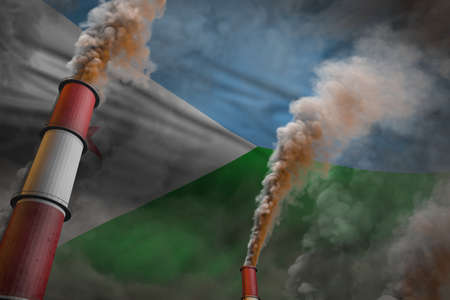 Djibouti pollution fight concept - two large industrial pipes with heavy smoke on flag background, industrial 3D illustration