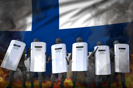 Finland protest stopping concept, police officers in heavy smoke and fire protecting state against disorder - military 3D Illustration on flag background