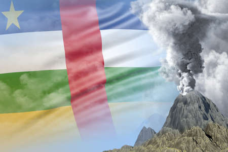 big volcano eruption at day time with white smoke on Central African Republic flag background, troubles because of eruption and volcanic ash conceptual 3D illustration of nature Stock fotó