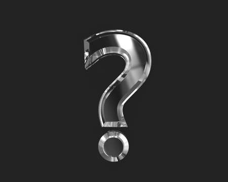 White shiny reflective transparent font - question mark isolated on dark background, 3D illustration of symbols Stock fotó